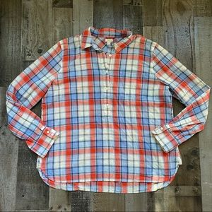 J. Crew Plaid Popover Long Sleeve Large